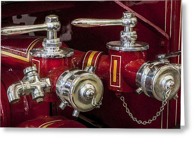 Chrome Handles Greeting Cards - 1915 LaFrance Fire Engine  Greeting Card by Rich Franco