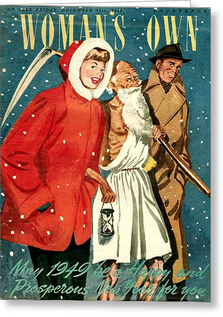 Christmas Eve Greeting Cards - 1940s Uk Womans Own Magazine Cover Greeting Card by The Advertising Archives