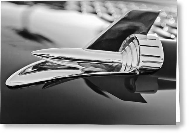 Collector Hood Ornament Greeting Cards - 1957 Chevrolet Belair Hood Ornament Greeting Card by Jill Reger