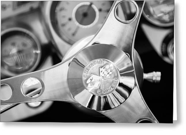 Wheels Greeting Cards - 1960 Chevrolet Corvette Steering Wheel Emblem Greeting Card by Jill Reger