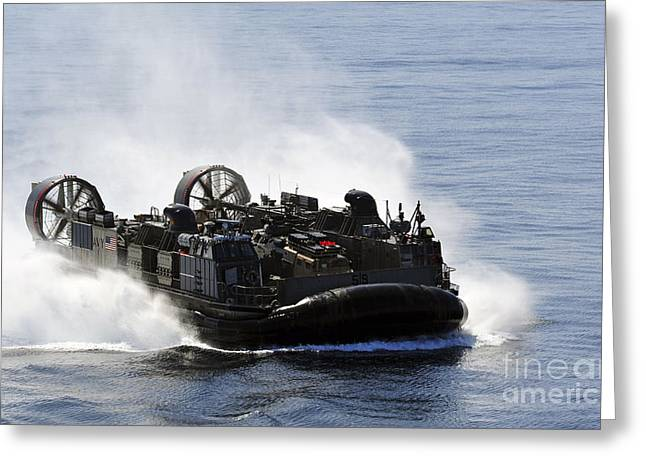 Cushion Greeting Cards - A Landing Craft Air Cushion Transits Greeting Card by Stocktrek Images