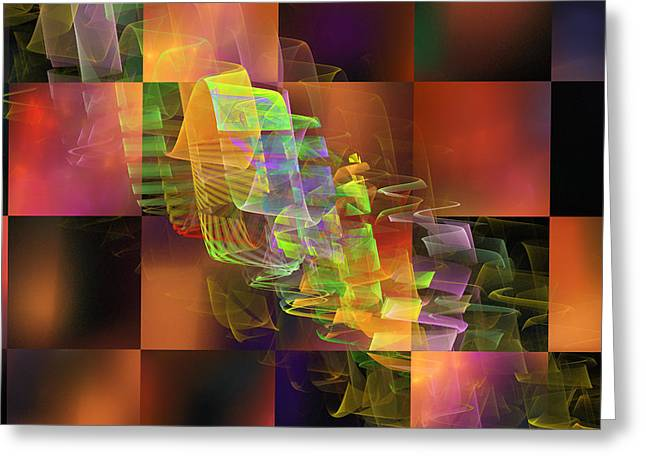 Computer Generated Abstract Greeting Cards - Abstract Checkered Pattern Fractal Flame Greeting Card by Keith Webber Jr