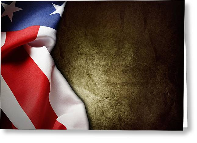 Grunge Photographs Greeting Cards - American flag Greeting Card by Les Cunliffe