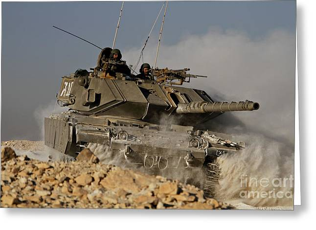 M60 Tank Greeting Cards - An Israel Defense Force Magach 7 Main Greeting Card by Ofer Zidon