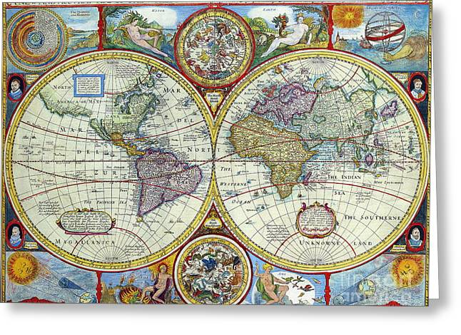 Indian Summer Greeting Cards - Antique Map of the World Greeting Card by Indian Summer