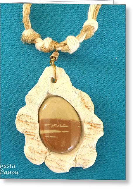 Stone Jewelry Greeting Cards - Aphrodite Antheia Necklace Greeting Card by Augusta Stylianou