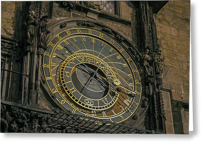 Astronomical Clock Greeting Cards - Astronomical clock. Prague. Greeting Card by Fernando Barozza