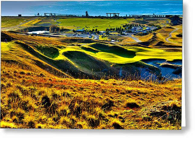 Us Open Golf Greeting Cards - #9 at Chambers Bay Golf Course - Location of the 2015 U.S. Open Tournament Greeting Card by David Patterson
