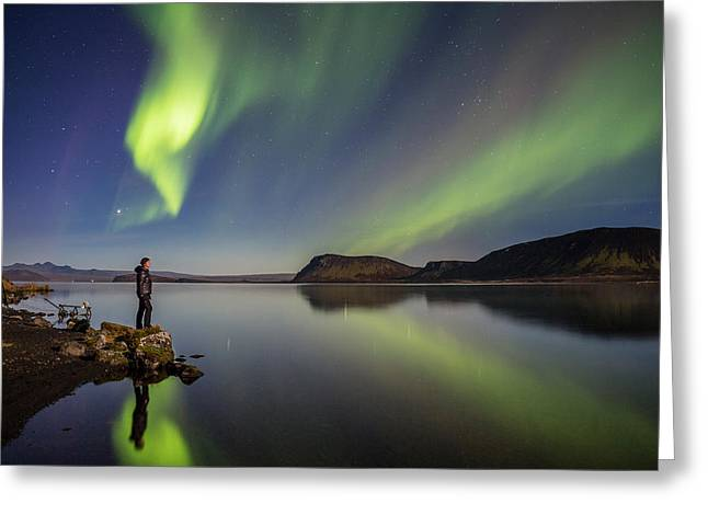 Winter Night Greeting Cards - Aurora Borealis Or Northern Lights Greeting Card by Panoramic Images