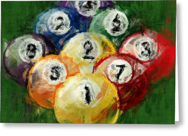 Billiards Digital Greeting Cards - 9 Ball Rack Abstract Greeting Card by David G Paul