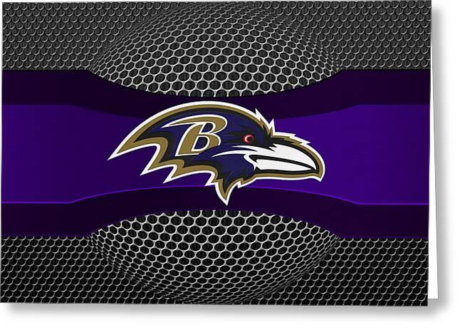 Helmet Greeting Cards - Baltimore Ravens Greeting Card by Joe Hamilton