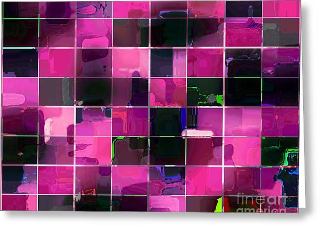Tiled Tapestries - Textiles Greeting Cards - Tiled Blocks Pink Glow Greeting Card by Barbara Griffin