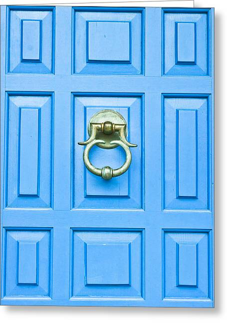 French Door Greeting Cards - Blue door Greeting Card by Tom Gowanlock