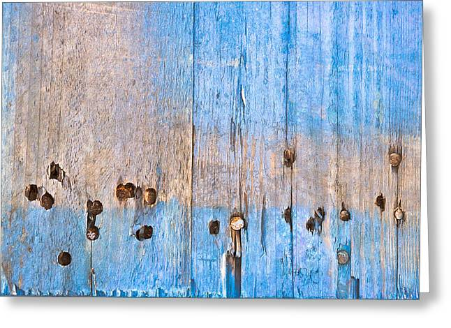 Wood Grain Greeting Cards - Blue wood Greeting Card by Tom Gowanlock