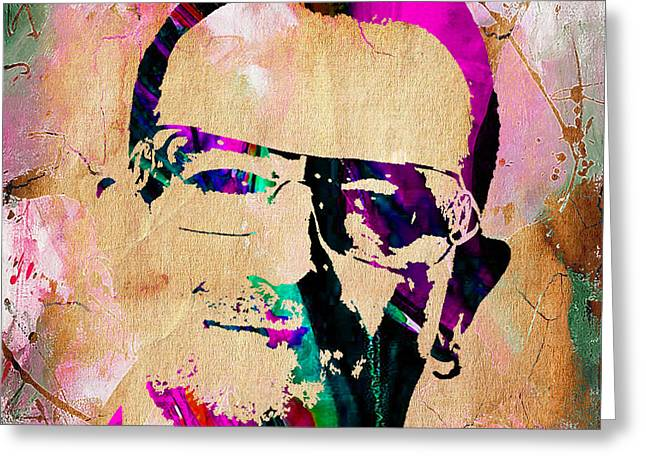 Irish Rock Band Greeting Cards - Bono U2 Greeting Card by Marvin Blaine