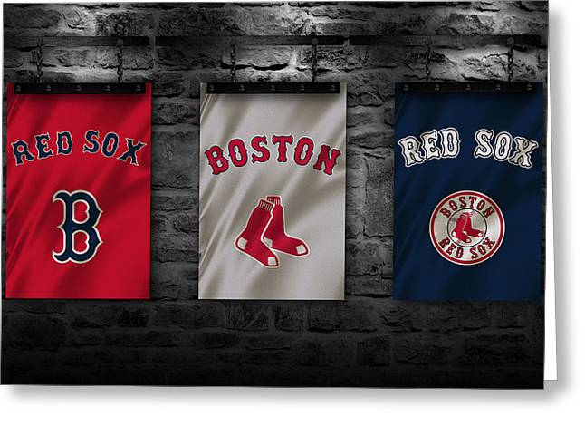Glove Greeting Cards - Boston Red Sox Greeting Card by Joe Hamilton