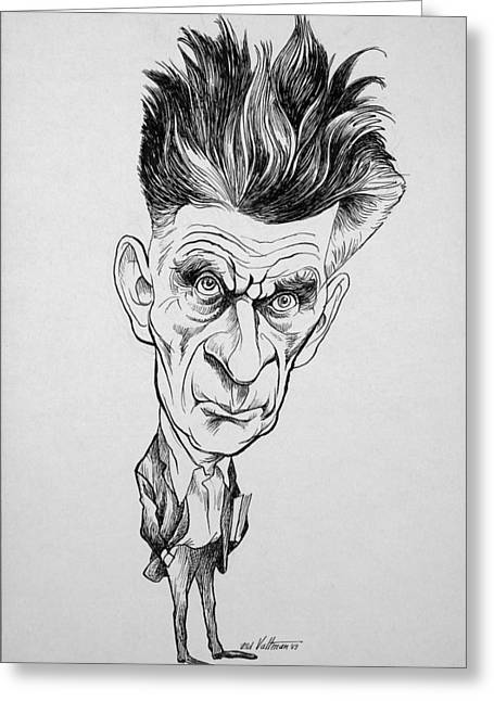 Acclaim Greeting Cards - Caricature of Samuel Beckett Greeting Card by Celestial Images