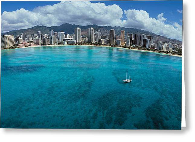 Fish Eye Lens Greeting Cards - Buildings At The Waterfront, Honolulu Greeting Card by Panoramic Images