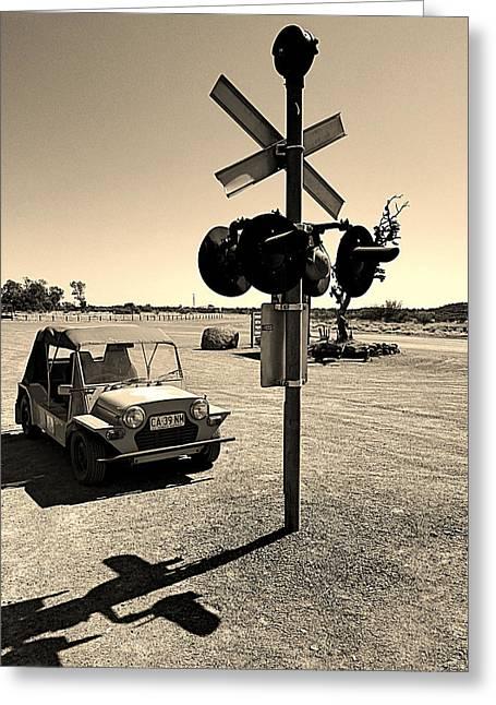 Mini Pyrography Greeting Cards - Old car Greeting Card by Girish J