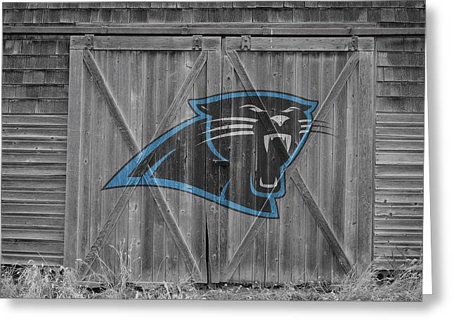 Barn Door Greeting Cards - Carolina Panthers Greeting Card by Joe Hamilton