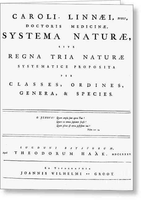 Titlepage Greeting Cards - Carolus Linnaeus (1707-1778) Greeting Card by Granger