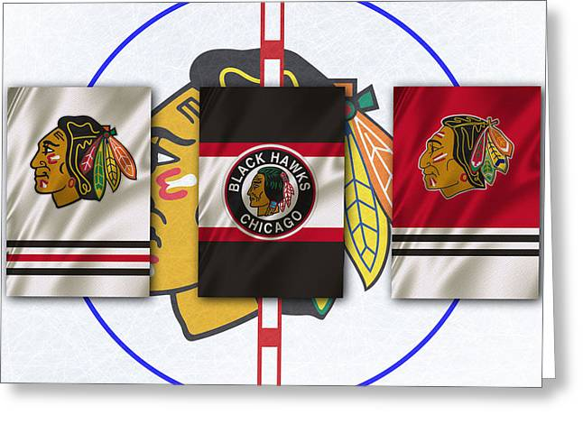 Goals Greeting Cards - Chicago Blackhawks Greeting Card by Joe Hamilton