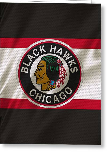 Hockey Greeting Cards - Chicago Blackhawks Uniform Greeting Card by Joe Hamilton