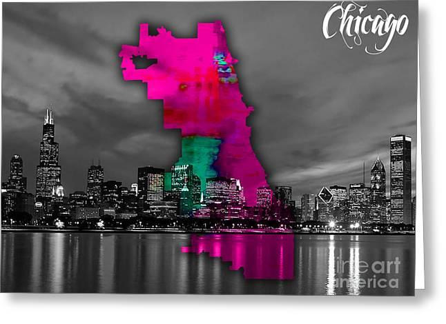 Chicago Skyline Mixed Media Greeting Cards - Chicago Map and Skyline Watercolor Greeting Card by Marvin Blaine