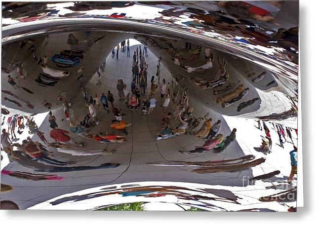 Stainless Steel Greeting Cards - Cloud Gate Sculpture In Chicago Greeting Card by Mark Williamson