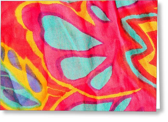 Flowery Greeting Cards - Colorful cloth Greeting Card by Tom Gowanlock