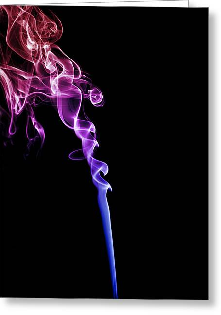 Incense Sticks Greeting Cards - Colourful Smoke Greeting Card by Samuel Whitton