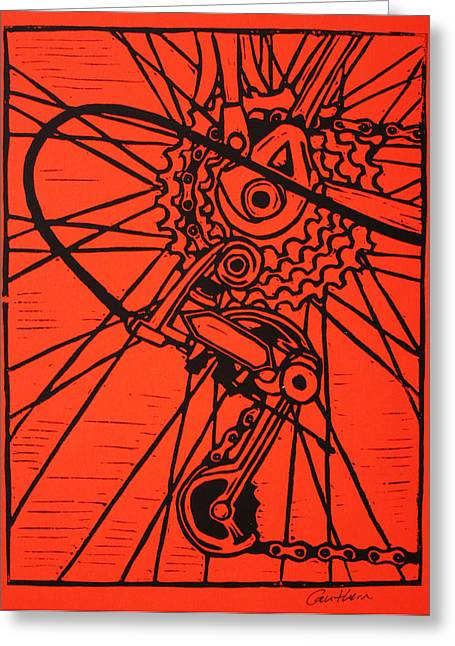 Printmaking Greeting Cards - Derailluer Greeting Card by William Cauthern