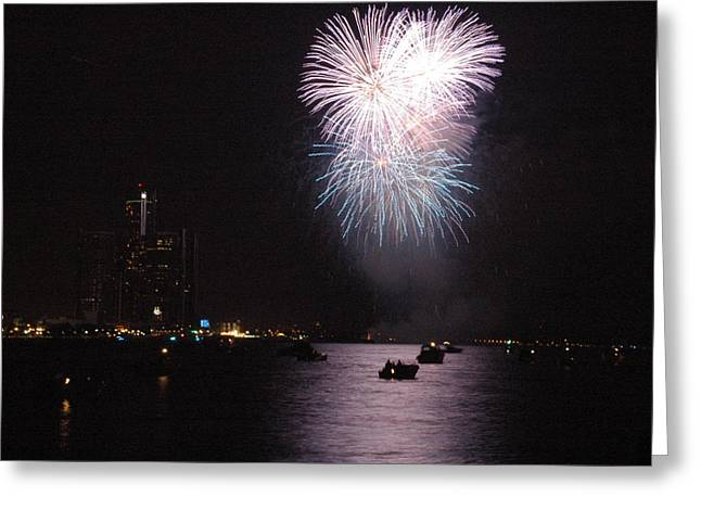 Renaissance Center Greeting Cards - Detroit Fireworks Greeting Card by Gary Marx