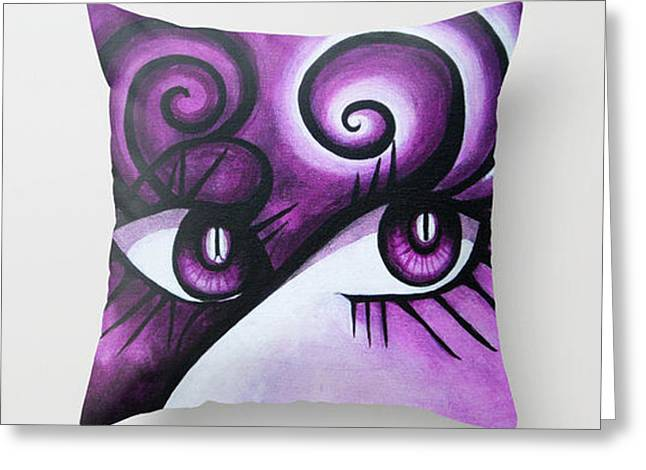 Fine Art Tapestries - Textiles Greeting Cards - Expressive Eyes Greeting Card by Annette Jimerson