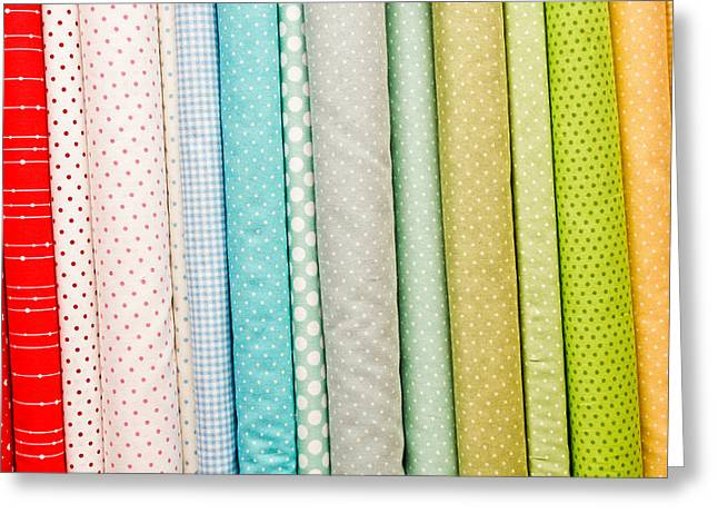 Tailor Greeting Cards - Fabric background Greeting Card by Tom Gowanlock