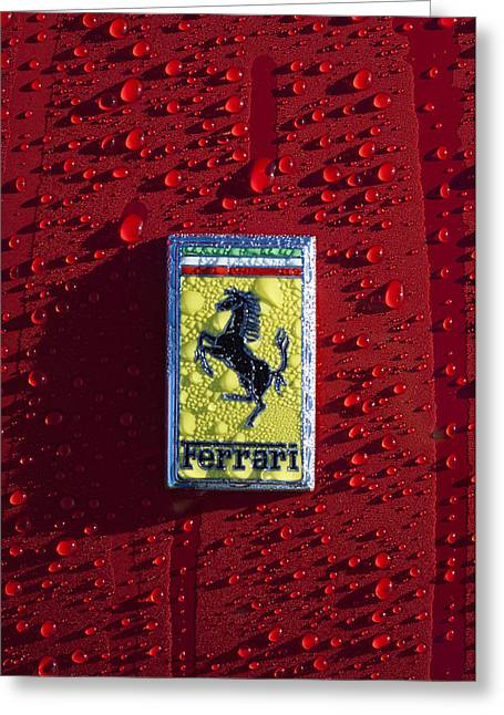 Car Photography Greeting Cards - Ferrari Emblem Greeting Card by Jill Reger