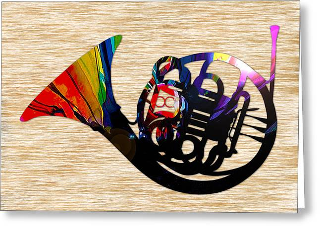 Symphony Greeting Cards - French Horn Greeting Card by Marvin Blaine