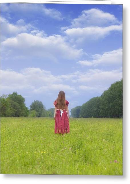 Anonymous Greeting Cards - Girl On Meadow Greeting Card by Joana Kruse