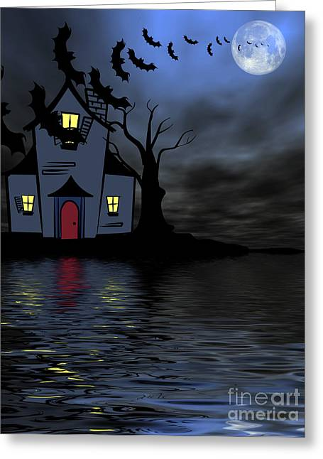 Indian Summer Greeting Cards - Halloween Scene Greeting Card by Indian Summer