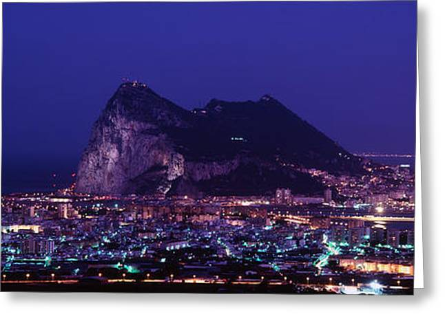 Hercules Greeting Cards - High Angle View Of A City Lit Greeting Card by Panoramic Images