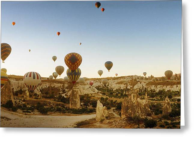 Mid-air Greeting Cards - Hot Air Balloons Over Landscape Greeting Card by Panoramic Images