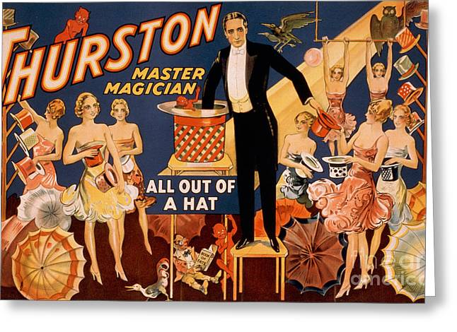 Tricks Greeting Cards - Howard Thurston, American Magician Greeting Card by Photo Researchers