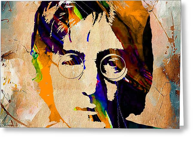 Wall Greeting Cards - John Lennon Painting Greeting Card by Marvin Blaine