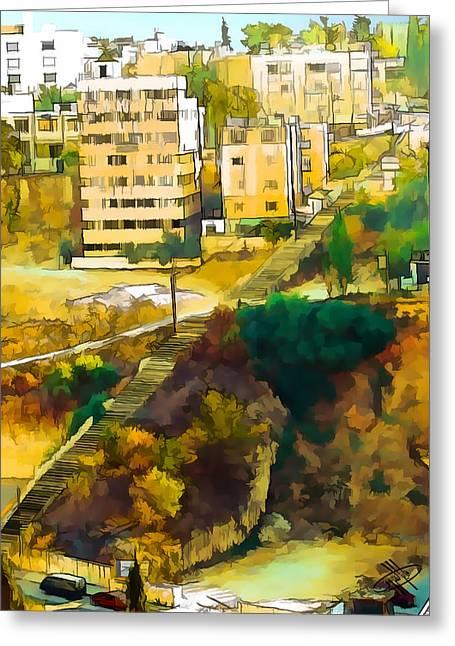 Petra - Jordan Digital Greeting Cards - Jordan/Amman/stairs Greeting Card by Fayez Alshrouf