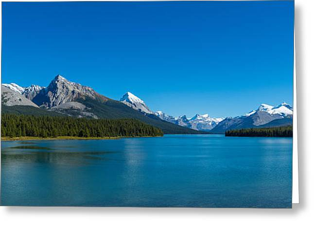 Jasper National Park Greeting Cards - Lake With Mountains In The Background Greeting Card by Panoramic Images