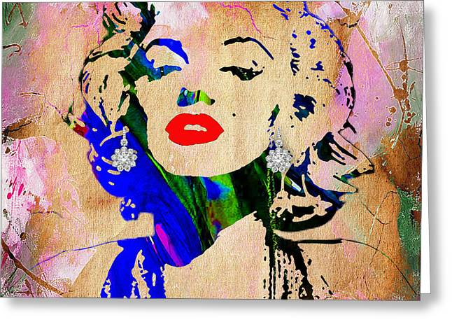 Star Greeting Cards - Marilyn Monroe Diamond Earring Collection Greeting Card by Marvin Blaine