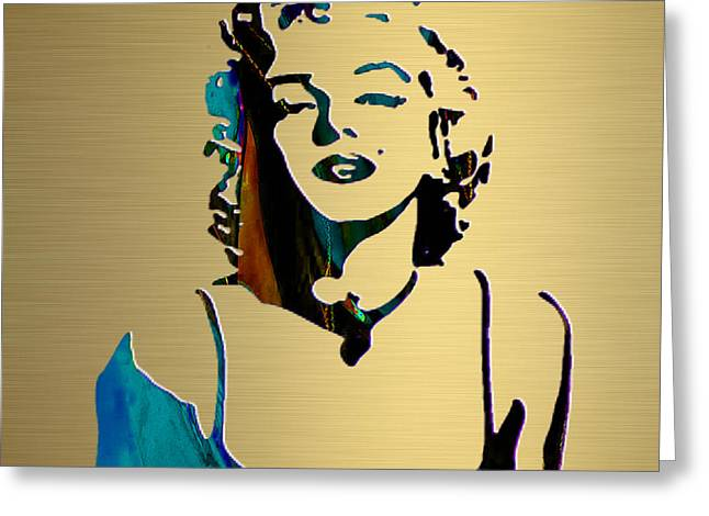 Icon Greeting Cards - Marilyn Monroe Gold Series Greeting Card by Marvin Blaine