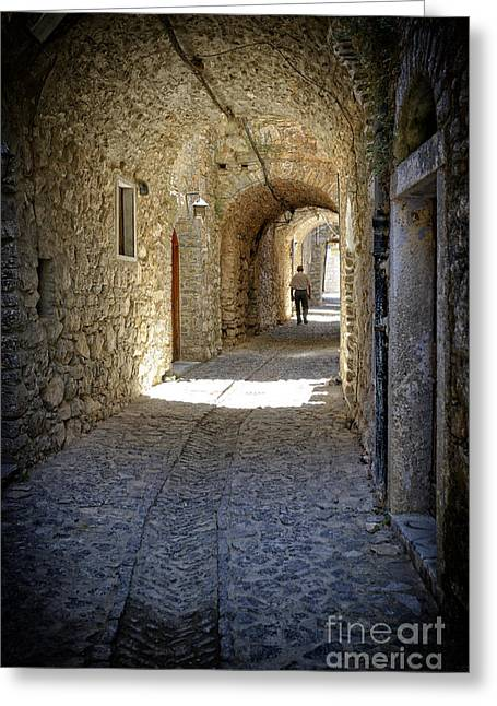 Chios Greeting Cards - Medieval cobblestone lane. Mesta. Chios. Greece. Greeting Card by Steven Sklifas
