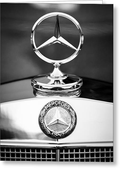 Vintage Hood Ornament Greeting Cards - Mercedes-Benz Hood Ornament Greeting Card by Jill Reger