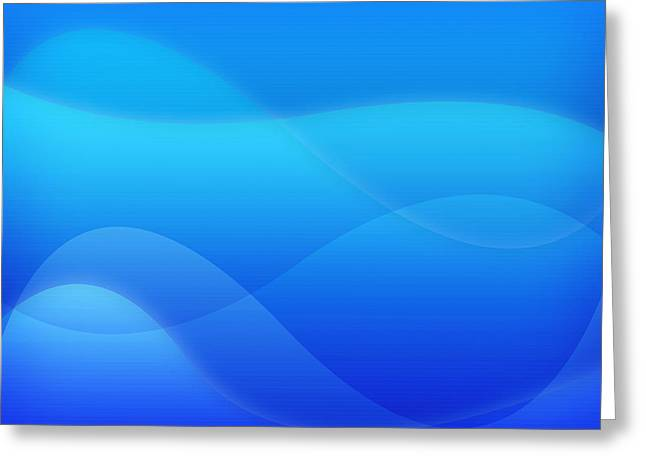 Geometric Style Greeting Cards - Modern Blue Abstract Greeting Card by GP Images
